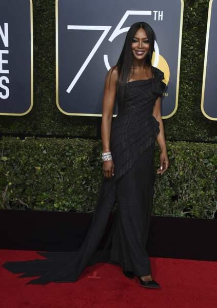 Naomi Campbell lors de la 75e cérémonie des Golden Globes, le 7 janvier 2018