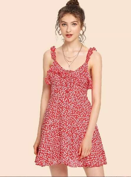 Robe caraco plissée imprimée fleurie, Shein, 18€