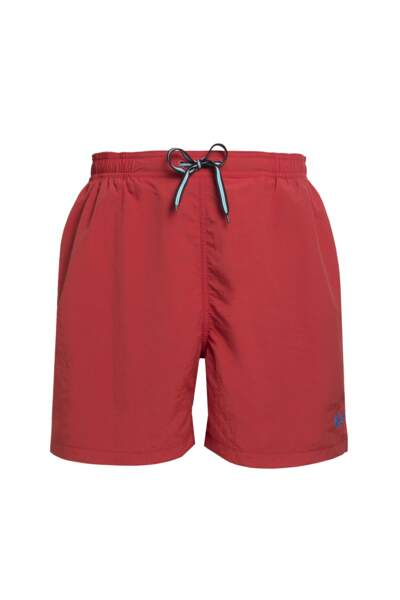 Short de bain rouge en polyester, Fred Perry, 90€