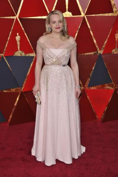 Elisabeth Moss à la 90e cérémonie des Oscars, à Los Angeles le 4 mars 2018