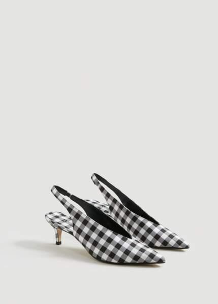 Chaussures ouvertes à l'arrière imprimé vichy, Mango, 24,99€ au lieu de 49,99€