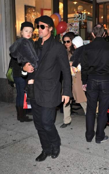 Know dans les bras de son père en 2010 à New York