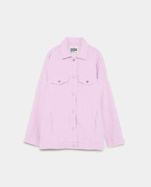 Veste en jean mauve oversize, Zara, 49,95 euros