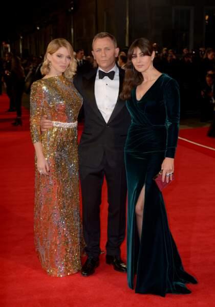 Léa Seydoux, Daniel Craig et Monica Bellucci à l'avant-première de Spectre