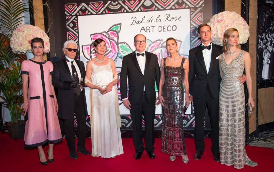 Charlotte Casiraghi, Karl Lagerfeld, Caroline de Monaco, Albert de Monaco, Pierre Casiraghi et Béatrice Borromeo