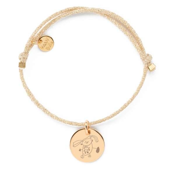 Bracelet personnalisé avec le dessin de votre enfant. En or, à partir de 19 € sur HappyBulle.com
