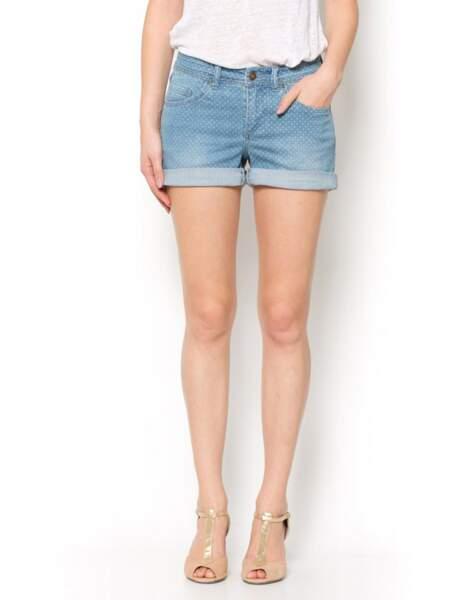 Short en jean à pois La Redoute : soldé 14,99€