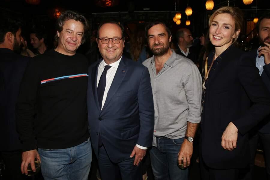 Thibault de Montalembert, Francois Hollande, Gregory Montel et Julie Gayet à la soirée Dix pour cent