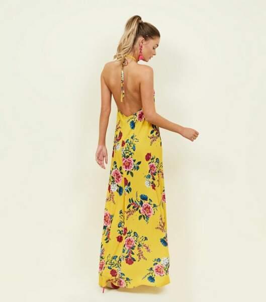Robe longue jaune à fleurs à dos nu, Newlook, 29,99€