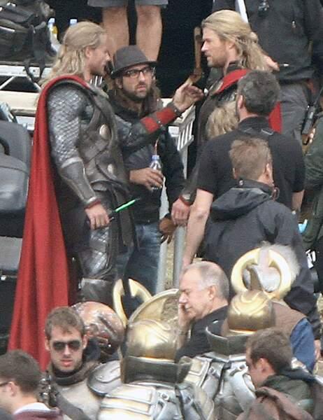 Chris Hemsworth et sa doublure dans Thor
