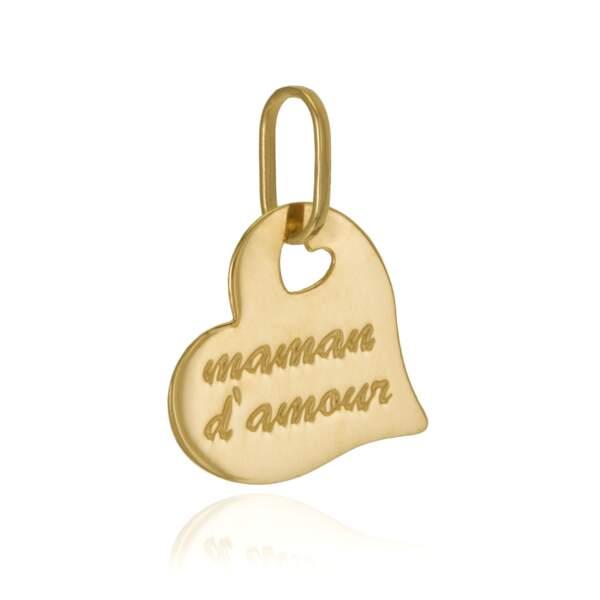 """Pendentif coeur """"Maman d'amour"""" en or jaune 18 carats, Le Manège à bijoux, 27,70€"""