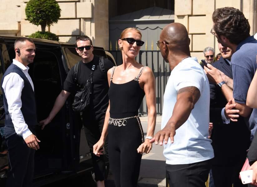 Céline Dion et Pepé Muñoz devant l'hôtel Crillon à Paris