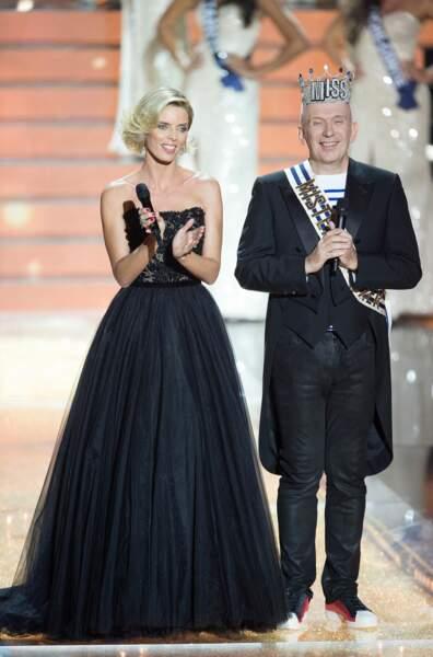 Sylvie Tellier aux côtés de Jean-Paul Gaultier lors de l'élection de Miss France 2016