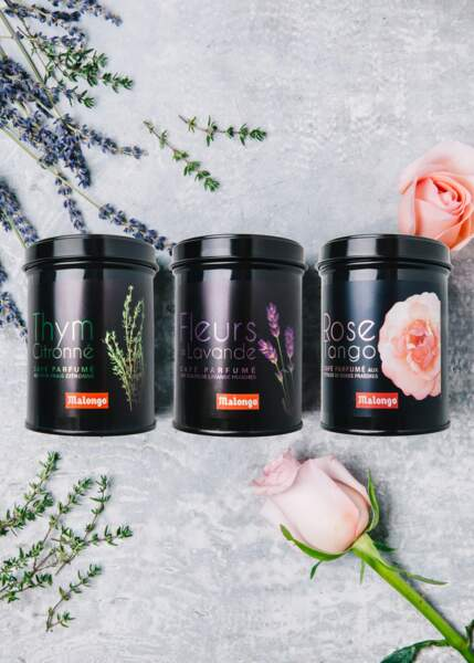 Cadeaux de fête des mères : café aux arômes de fleurs (Rose, Lavande, Thym), Malongo, 15€ les 100g