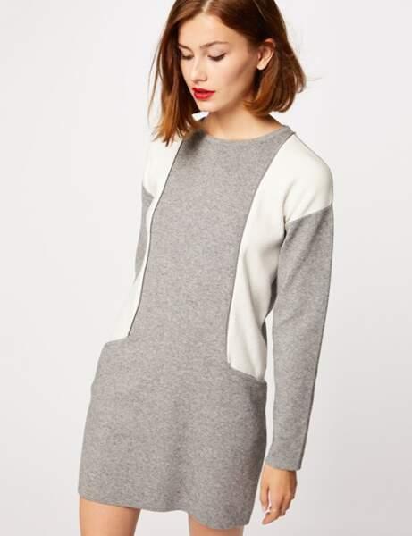Robe maille droite bicolore détails zips, Morgan, 56€