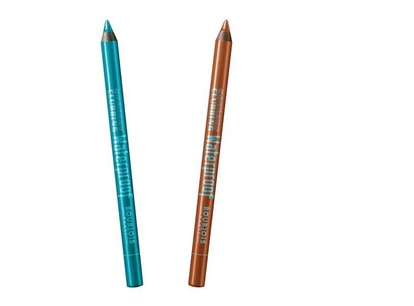 Crayons contour clubbing waterproof, 63 sea blue soon et 64 exub' orange, 8,55€ l'unité, Bourjois