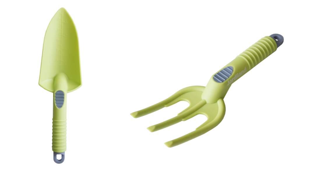 Outils de jardinage. En plastique, 2,95 € l'un, Jardiland