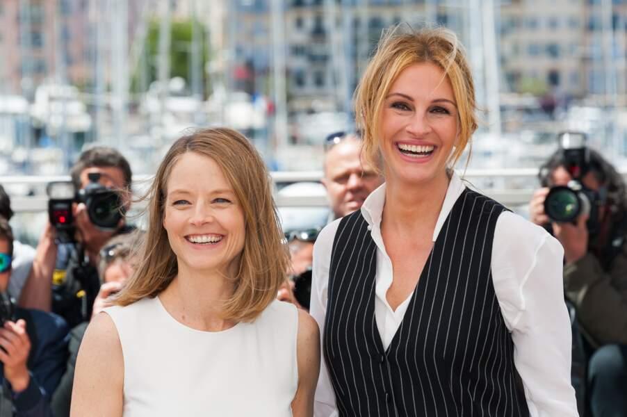 Jodie Foster la réalisatrice de Money Monster et son actrice Julia Roberts