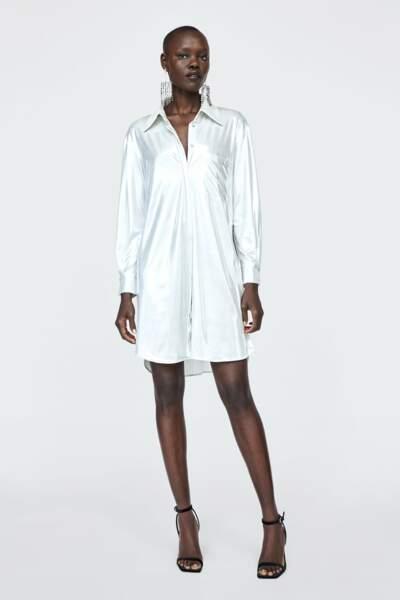 Robe chemise à effet métallisé, Zara, 39,95€
