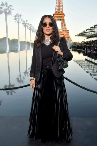 Salma Heyek au défilé Saint Laurent à la fashion week de Paris, le 25 septembre