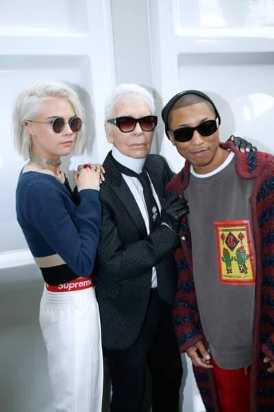 Karl Lagerfeld prend la pose avec Pharell Williams