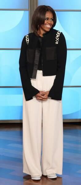 Michelle Obama en noir et blanc chez Ellen DeGeneres
