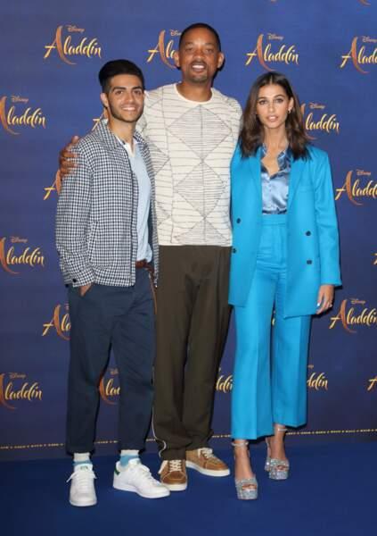 Will Smith aux côtés de Mena Massoud et Naomi Scott, les interprètes d'Aladdin et Jasmine
