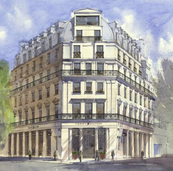 Croquis de la future boutique Tommy Hilfiger, boulevard des Capucines à Paris