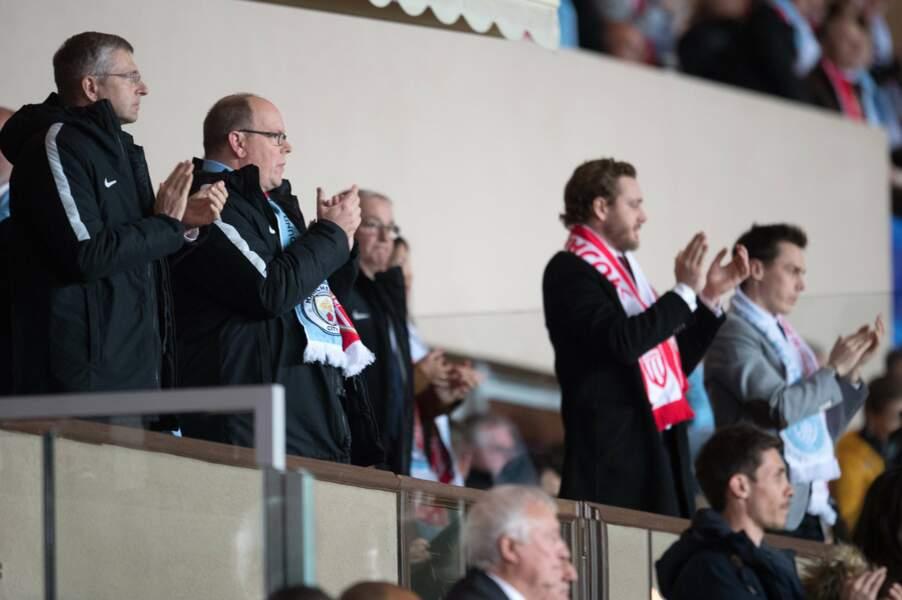 AS Monaco vs Manchester City : Albert II de Monaco, Pierre Casiraghi et Louis Ducruet en tribune présidentielle