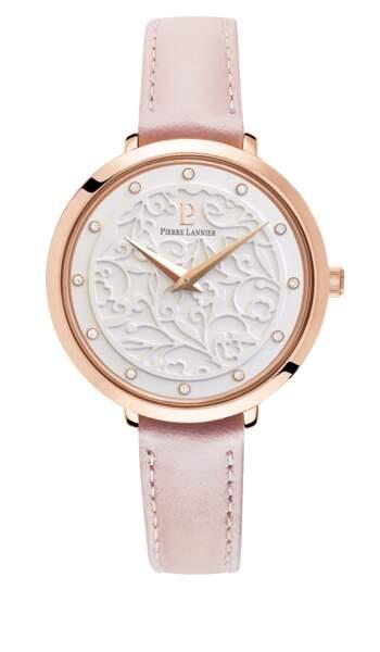 Montre Eolia. En acier doré rose, 119 €, Pierre Lannier.