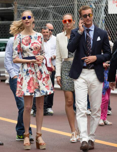 Pierre Casiraghi et Beatrice Borromeo hier, au Grand Prix de Monaco