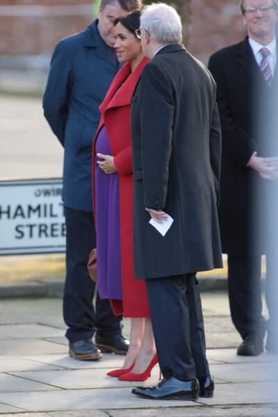 Meghan Markle au square Hamilton, dans la ville portuaire de Birkenhead.