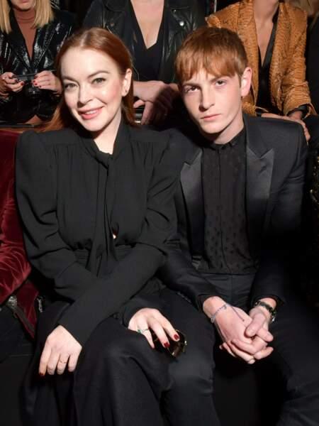Lindsay Lohan au défilé Saint Laurent à la fashion week de Paris, le 25 septembre