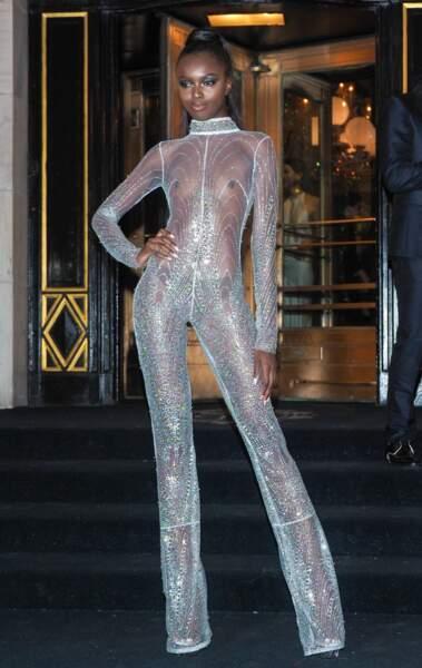 Tenue transparente et culotte apparente : Leomie Anderson