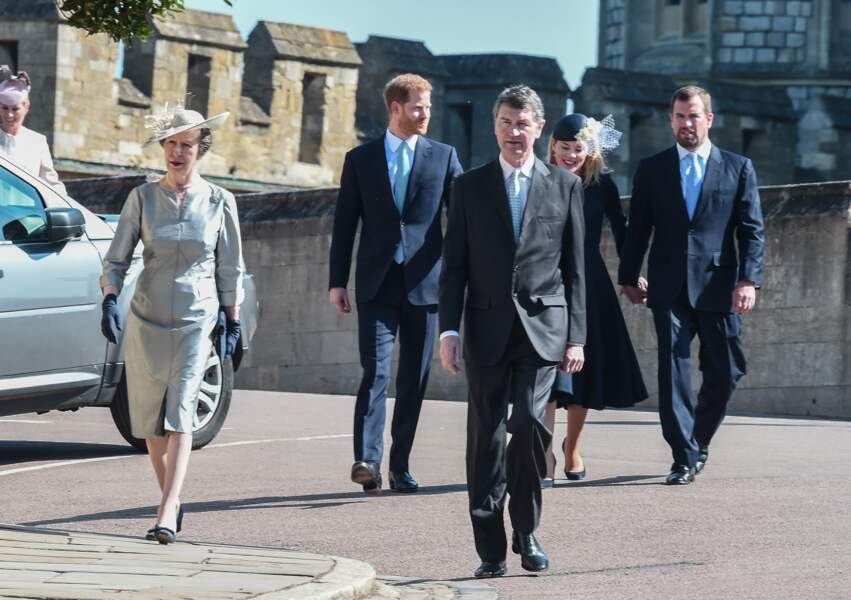 La princesse Anne, Timothy Laurence, le prince Harry, duc de Sussex, Peter Phillips et Autumn Phillips