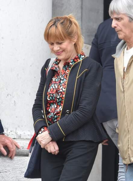 Annie Stone (Stone et Charden) aux obsèques de Christophe Michel