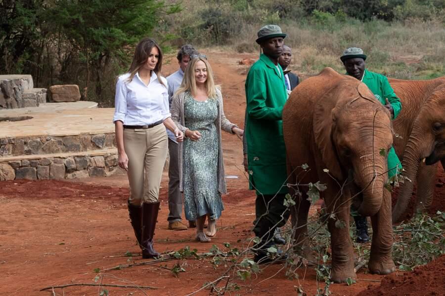 Melania Trump a visité un centre pour éléphanteaux orphelins à Nairobi