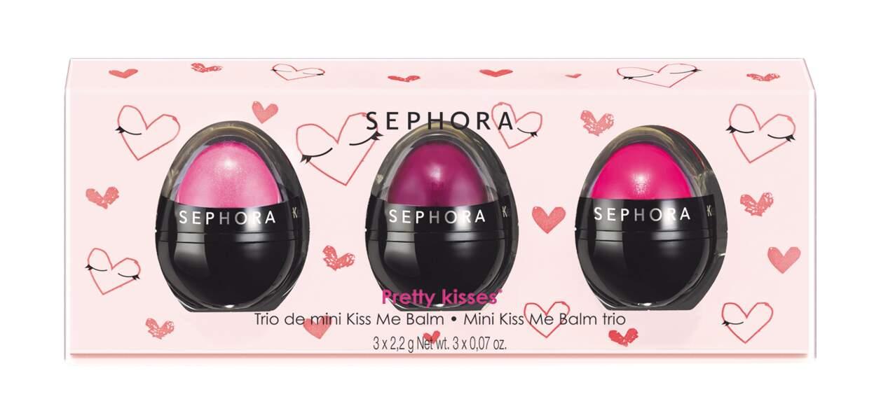 Cadeaux de fête des mères : coffret Pretty Kisses composé de trois mini baumes, Sephora, 9,95€