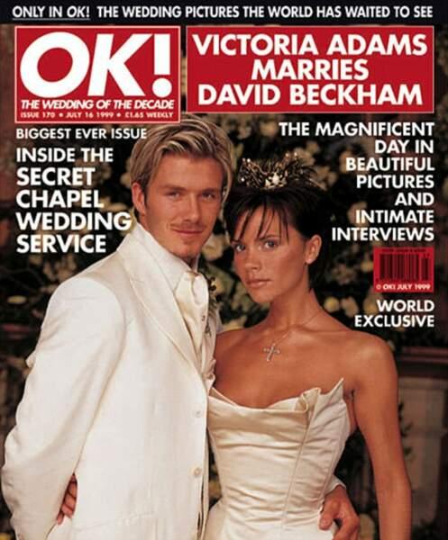 Robes de mariée de stars : Victoria Beckham, sa petite couronne, et David Beckham teint en blond en 1999