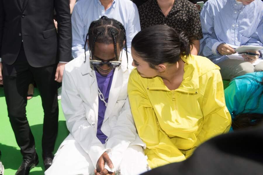 Travis Scott et Kylie Jenner lors du défilé Louis Vuitton printemps/été 2019