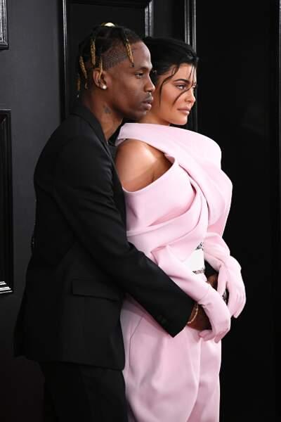 Travis Scott et Kylie Jenner lors des GRAMMY Awards en 2019