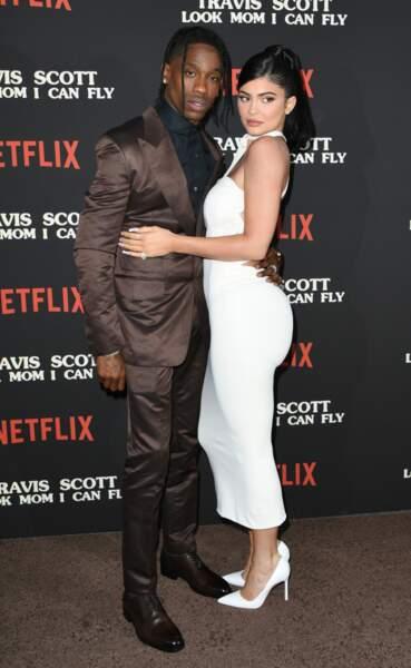 """Travis Scott et Kylie Jenner lors de la première """"Travis Scott: Look Mom I Can Fly"""" en 2019"""