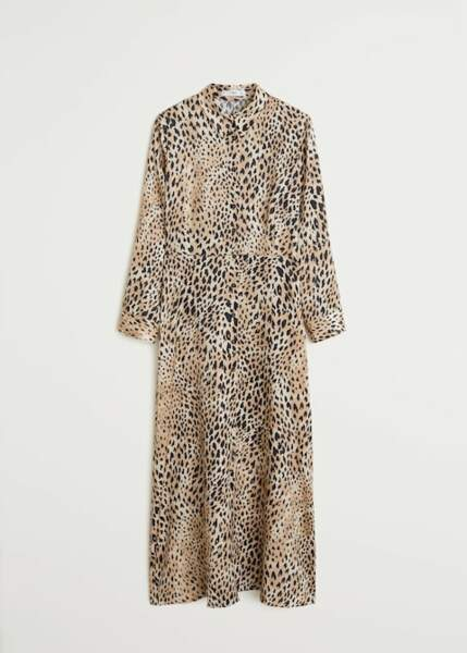 Robe chemise léopard, Mango, 49,99€