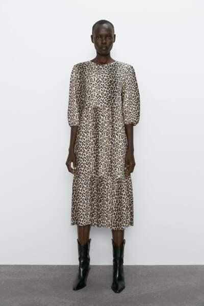 Robe mi-longue imprimée léopard, Zara, 19,95€