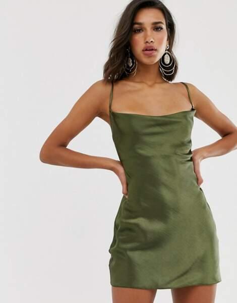 Robe en satin et fines bretelles, Asos design, 48,99€