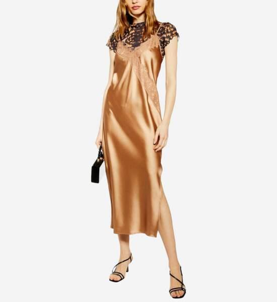 Robe longue en satin et dentelle, Topshop, 52€