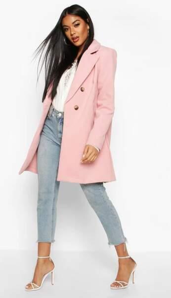 Manteau à double boutonnage, Boohoo, 81€
