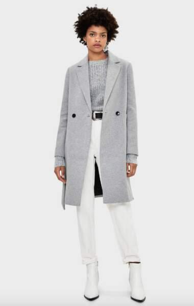 Manteau en laine avec ceinture, Bershka, 59,99€