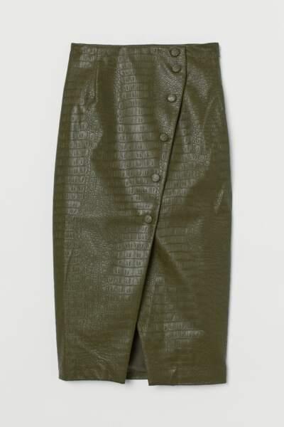 Jupe crayon à motif croco, H&M, 39,99€