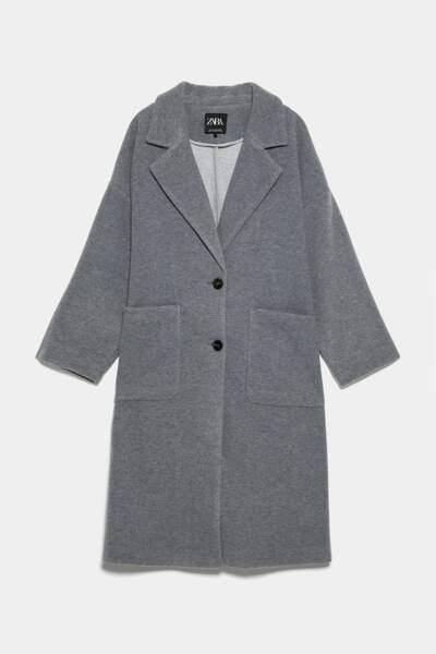Manteau oversize à poche, Zara, 41,97€